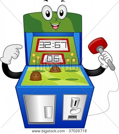Mascot Illustration of a Whack-a-Mole Mascot Holding a Mallet