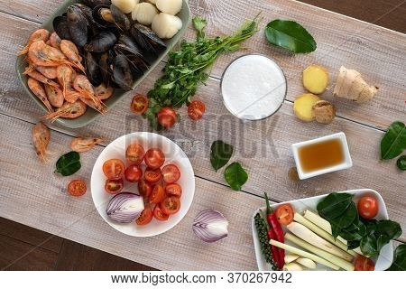 Cooking Tom Yam Soup At Home. Ingredients For Thai Tom Kung Soup. Thailand Meal. Healthy Food. Exoti
