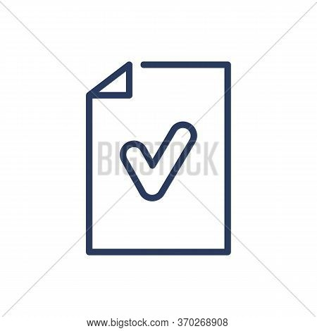 Paper With Checkmark Thin Line Icon. Certificate, Agreement, Mail Isolated Outline Sign. Check Marks