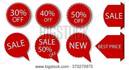 Discount Sticker Icon. Red Label With A Hot Offer. Cheap Price Template. Vector Image. Stock Photo.