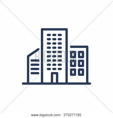 Midtown Houses Thin Line Icon. Skyscraper, Apartment, Cityscape Isolated Outline Sign. Buildings And