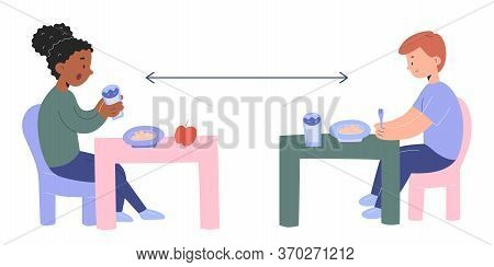 Little Kids Eating In Kindergarten With Social Distancing Measures Sitting At Separate Tables, Child