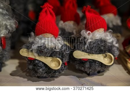 Stockholm, Sweden - August 20, 2017: Traditional Swedish Red Hat Troll Souvenir Made With Wool On Di