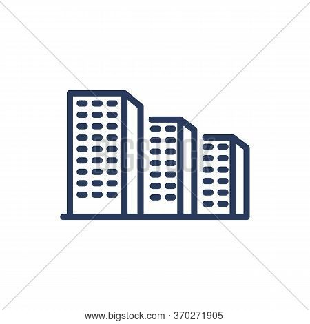 Dormitory Area Thin Line Icon. Floor, Apartment, Condo Isolated Outline Sign. Buildings And Urban Ar