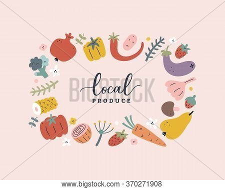 Vegetable And Fruit Vector Template, Modern Design Wreath Border With Hand Drawn Illustrations Of Fo
