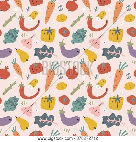 Vegetables Seamless Pattern, Food Ornament With Fruits, Foods Ingredients Illustrations, Hand Drawn