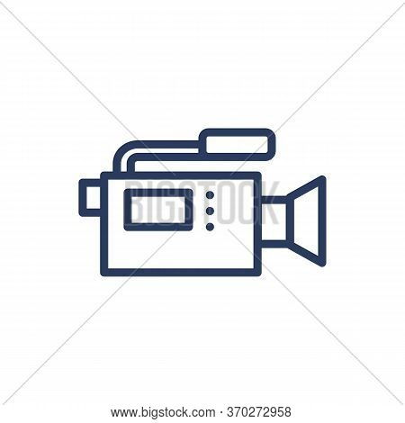 Video Camera Thin Line Icon. Camcorder, Cam, Footage Isolated Outline Sign. Moviemaking, Reportage,