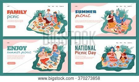 Set Of Website Banners With Family And Friends Having A Picnic In Park, Flat Vector Illustration On