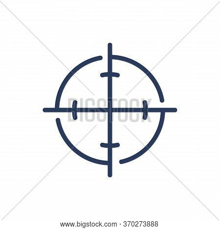 Optical Focus Thin Line Icon. Circular Crosshair, Firearm, Aiming, Game Isolated Outline Sign. Targe