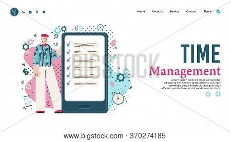 Time Management Website Banner With Man Using Business To Do List App On Giant Smartphone. Productiv