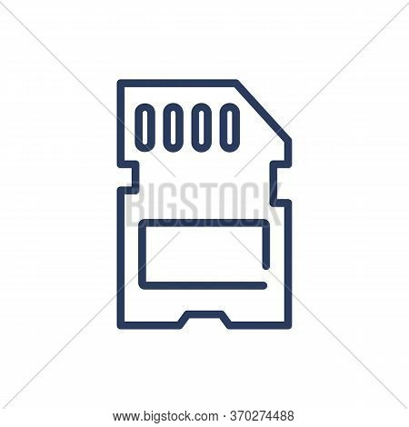 Sd Card Thin Line Icon. Flash, Storage, Memory Isolated Outline Sign. Digital Device, Technology, Eq