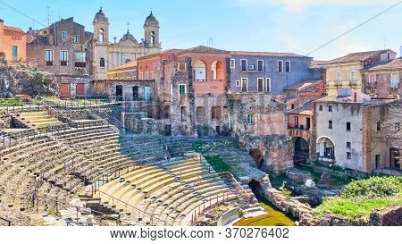 Panoramic view of Catania with ancient roman theater, Sicily, Italy
