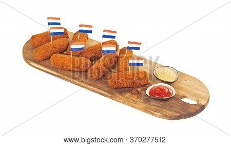 Brown Crusty Dutch Kroketten On A Serving Tray, Isolated On A White Background