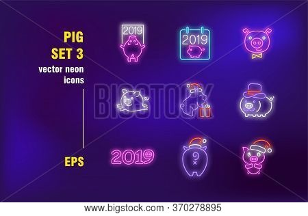Pig Collection In Neon Style. Cute Swine, Hog And Boar. Vector Illustrations For Bright Billboards.