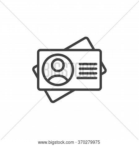 Id Cards Line Icon. Employee Card Linear Style Sign For Mobile Concept And Web Design. Identity Badg
