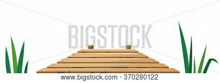 Wooden Pier Of Boards In Front View Between The Reeds Isolated Illustration, Quiet Place For Fishing