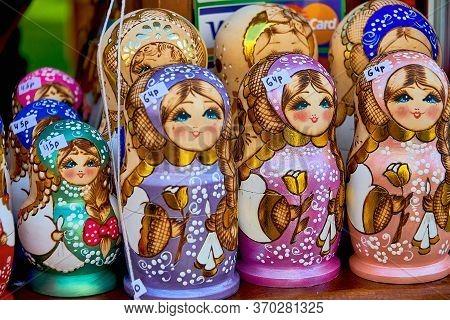 Belarus, Minsk, August 2019. Matryoshka  Dolls, A Popular Russian Souvenir. The Business Of Selling