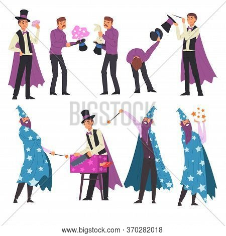 Magicians Doing Tricks Set, Illusionist And Wizard Characters Performing At Magic Show Cartoon Style