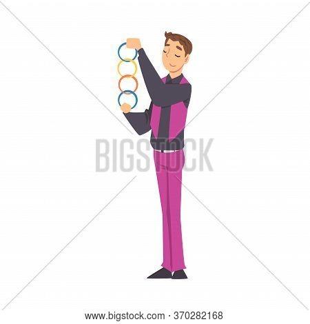 Magician Doing Tricks, Illusionist Character Performing At Magic Show Cartoon Style Vector Illustrat
