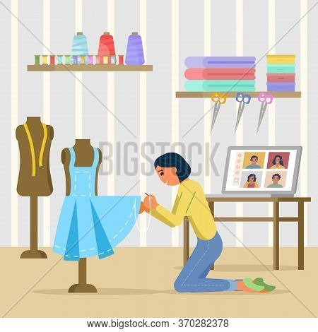 Online Sewing Masterclass, Vector Flat Style Design Illustration
