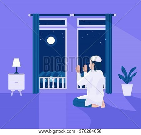 Vector Illustration Of Muslim Praying At Home At Night, With Home Decor Pots, Tables, Bed Lamps, Dou