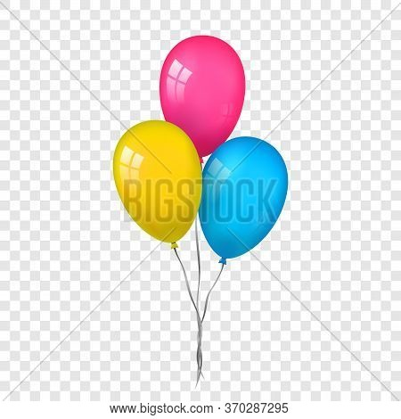 Balloons 3d Bunch Set, Thread, Isolated White Transparent Background. Color Glossy Flying Baloon, Ri
