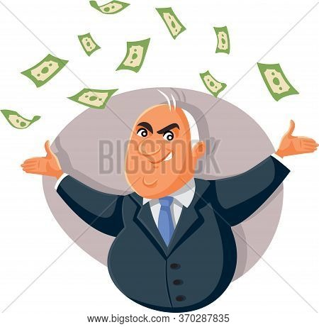 Corrupt Politician Throwing Bribe Money In The Air