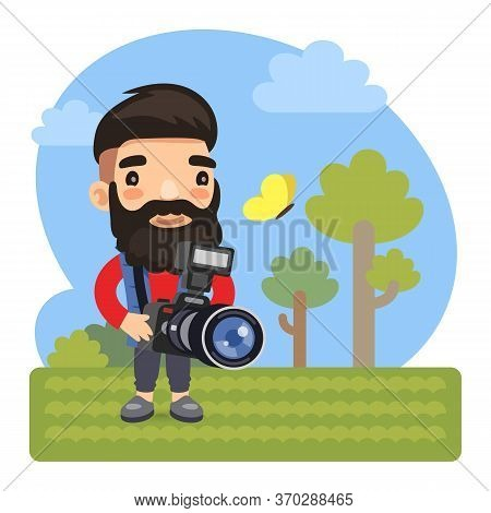 Cartoon Character Photographer On Nature With Photocamera. Composition With A Professional. Flat Mal