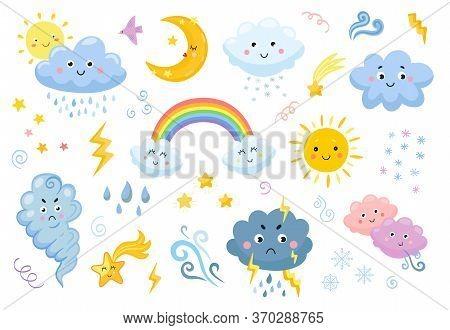 Weather Emoticon Flat Icon Set. Cartoon Rainbow, Rain And Snow Clouds, Sun, Moon, Star, Lightening,
