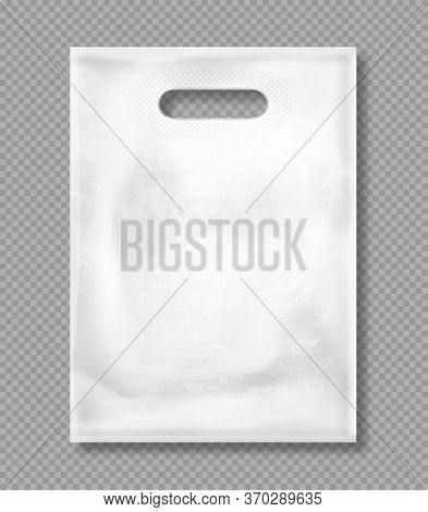 White Plastic Bag Isolated On Transparent Background. Vector Mockup Of Blank Packet With Handles, Em