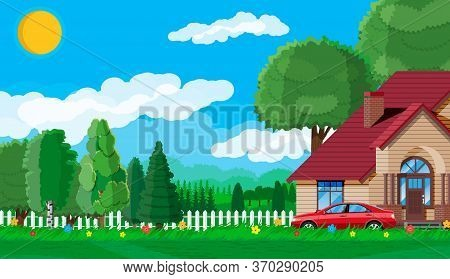 Suburban Family House. Countryside Wooden House Icon. Car, Road, Fence, Forest With Trees And Buildi
