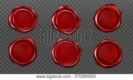 Red Wax Seals For Letter, Certificate Or Guarantee. Vector Realistic Set Of Blank Round Wax Stamps,