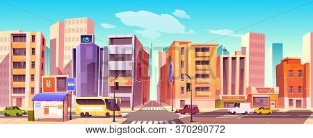 City Street With Houses, Road With Pedestrian Crosswalk, Cars And Bus Stop. Vector Cartoon Backgroun