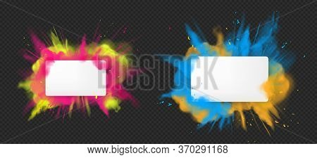 Holi Paint Powder Color Explosion Banner Realistic Vector. Blue Pink Yellow Dust Splash, Spring Holi