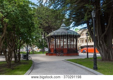 Punta Arenas, Chile-february 10, 2020: Tourist Information Pavilion In Plaza De Armas, Punta Arenas,