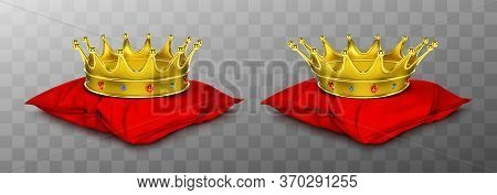 Gold Royal Crown For King And Queen On Red Pillow. Vector Realistic Luxury Golden Corona With Gems,