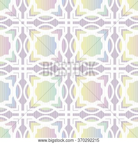 Astract Geoetric Seamless Vector Pattern With Trellis And Shapes In Rainbow Ombre Gradients. Decorat