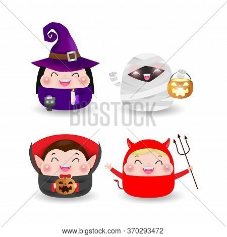 Happy Halloween Party Kids Costume. Group Of Children In Halloween Cosplay. Set Of Happy Halloween P
