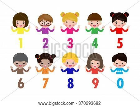 Happy Children Hand Showing The Number Zero One Two Three Four Five Six Seven Eight Nine Kids Showin