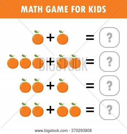 Mathematics Educational Game For Children. Learning Counting, Addition Worksheet For Kids. Math Addi