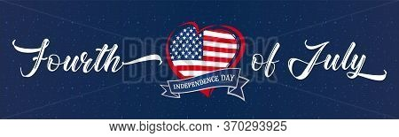 Fourth Of July Usa Heart & Ribbon Navy Blue Vintage Poster. 4th Of July United States Of America, In