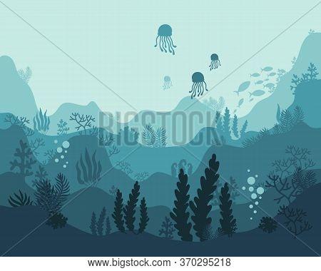 Background Underwater World, Sea Ocean, Fish Animals, Algae And Coral Reefs, Vector Illustration