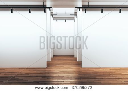 Minimalistic Gallery Room With Empty Wall And Wooden Floor. Gallery And Presentation Concept. Mock U