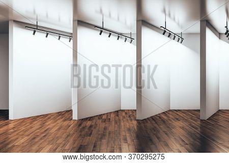 Contemporary Gallery Room With Empty Wall And Wooden Floor. Gallery And Presentation Concept. Mock U