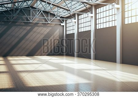 Modern Storehouse Interior With Window And Gray Wall. Industrial And Construction Concept. 3d Render