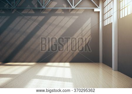 Minimalistic Storehouse Interior With Empty Gray Wall. Industrial And Construction Concept. 3d Rende