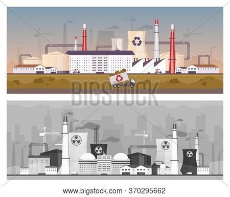 Recycling And Power Plant Flat Color Vector Illustrations Set. Energy Station And Waste Management F
