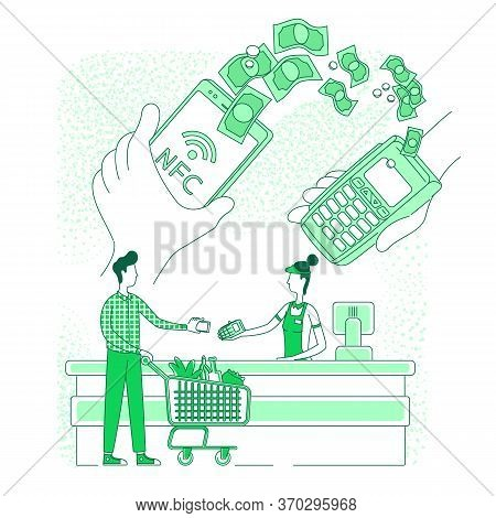 Mobile Wallet, E-payment Thin Line Concept Vector Illustration. Smartphone Payment, Cashier And Buye