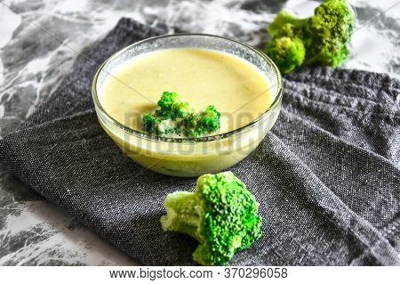 Broccoli, Spinach Cream Soup In A Bowl, Close Up, Selective Focus, Copy Space For Text, Vegetarian V