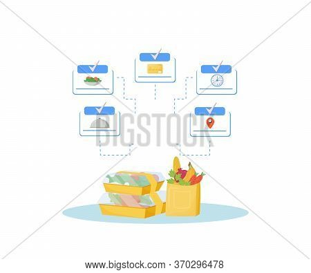 Catering, Online Meals Ordering Steps Flat Concept Vector Illustration. Food Cooking, Contactless Ca